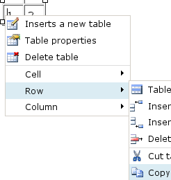 right-click table rows to copy   paste